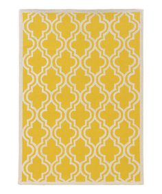 Take a look at this Yellow Silhouette Quatrefoil Rug by Linon Home on #zulily today! 5x7 - $160 8x10 - $380