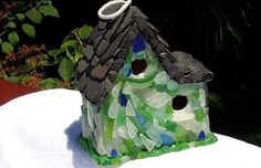 Sea Glass Birdhouse: ~ sea glass project submitted byDiane Isgrigg, Waterford, MI   After many years of collecting beach glass on Lake Erie, it was time to put it to