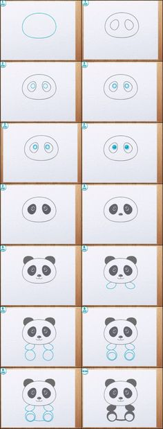Learn to draw a Panda! Learn to draw a Panda! Doodle Art, Doodle Drawings, Animal Drawings, Easy Drawings, Drawing Animals, Doodle Ideas, Drawing Lessons, Art Lessons, Drawing For Kids
