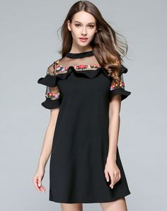 #VIPme Black Embroidery Chiffon Paneled Illusion H-line Short Dress ❤️ Get more outfit ideas and style inspiration from fashion designers at VIPme.com.