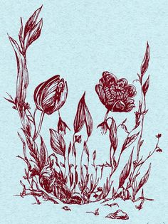 Gorgeous skull garden and flower print - amazing deep-red ink on a pale blue ground.