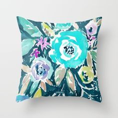 BEAUTY AND THE BADASS FLORAL Throw Pillow by Barbarian   Barbra Ignatiev.