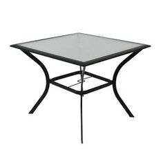 Garden Treasures�Cascade Creek 40-in x 40-in Glass-Top Black Steel-Frame Square Patio Dining Table