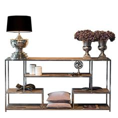 Reclaimed Wood Console Table with Stainless Steel Frame. Perfect as hallway console table or for adding storage space or to living spaces. Console Table Next, Hallway Console, Narrow Console Table, Wooden Console Table, Hallway Furniture, Hallway Storage, Industrial Console Tables, Modern Console Tables, Steel Shelving