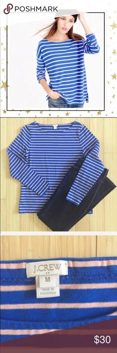 J. Crew Striped Top (Hy23J8C) NWOT. First picture is for references only, the rest is an actual item. Oversized striped shirt. Long sleeve. Boatneck. 100% cotton J. Crew Factory Tops Tees - Long Sleeve