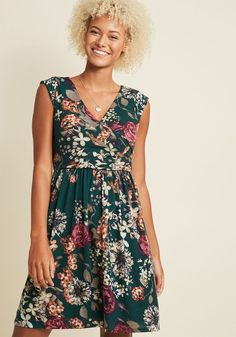 Breezier Said Than Done Floral Dress in Forest Green in 4X - Cap A-line Knee Length