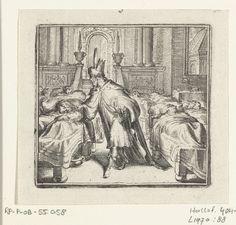 Romeyn de Hooghe   Illustratie voor de Decamerone van Boccaccio, Romeyn de Hooghe, 1697   Illustratie voor de Decamerone van Boccaccio, historie XXII. In een slaapzaal knipt de koning van Lombardijen het haar van een van de slapende mannen.