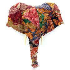 Vintage Sari Fabric Long Nose Elephant Head Wall Décor