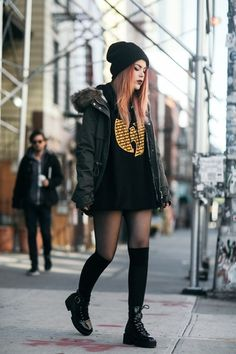 Shop the Look from lehappy on ShopStyleWinter look with H&M Grunge Outfits, Punk Outfits, Grunge Fashion, Cute Casual Outfits, Girl Outfits, Fashion Outfits, Goth Outfit, Badass Outfit, Mode Grunge