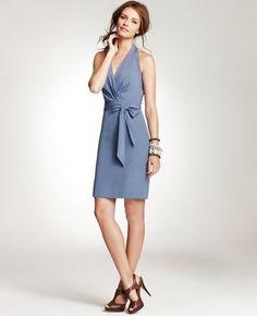 Ann Taylor Light Blue Silk Cross Over Vneck Halter Tail Dress Fashion Tips Design