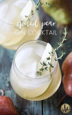 Spiced Pear Gin Cocktail is the perfect signature cocktail for Thanksgiving or any fall celebration. Spiced Pear Gin Cocktail is the perfect signature cocktail for Thanksgiving or any fall celebration. Winter Cocktails, Best Gin Cocktails, Gin Cocktail Recipes, Thanksgiving Cocktails, Drink Recipes, Cocktail Ideas, Thanksgiving Meal, Thanksgiving Celebration, Pear Recipes