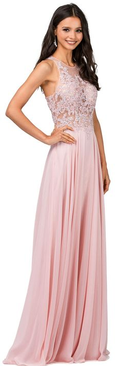 Prom Party Evening Dresses under $200 by DANCING QUEEN<BR>aqn2251<BR>Illusion jewel neckline beaded applique bodice to racer back and sheer overlay floor length skirt.