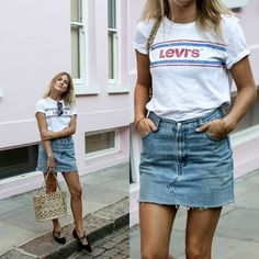 For a cute and casual summer style, why not copy @lucywilliams02 and pair a denim skirt with a simple graphic tee? This look is achievable and affordable, and suitable for any occasion!  Shoes: #ByFarShoes, Skirt: #UOonYou, Tee: #Levis, Bag: #Vintage.  http://www.justthedesign.com/these-denim-skirt-outfits-will-make-you-become-a-headturner/  #fashion, #fashionista, #fashionblogger, #streetstyle, #fashionicon, #instastyle, #instafashion