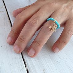 Turquoise Ring, Stretch Beaded Ring, Gold Starfish Charm, Stacking Ring, Dainty Ring, Gemstone Modern Ring, Turquoise Jewelry, One Size Ring Greek Jewelry, Pink Jewelry, Turquoise Jewelry, Dainty Ring, Delicate Rings, Coral Ring, Black Onyx Ring, Pink Agate, Agate Ring
