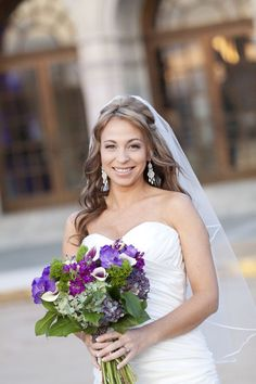 Pretty purple and green bridal bouquet.  Photo by Dustin Lewis Images.