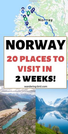 Summer Norway Travel Itinerary, TRAVEL, Visiting Norway this summer? Here are 20 of the BEST places to visit in Norway. This travel itinerary covers 2 weeks, but you could easily leave South. Europe Destinations, Europe Travel Tips, Amazing Destinations, Travel Info, Travel Trip, Travel Goals, Road Trip Europe, Backpacking Europe, Road Trips