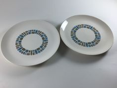 Vintage Temporama Canonsburg Atomic Dinner Plate Retro Blue Green Mid Century Pottery Set of 2 MCM Kitchen Kitchenware - pinned by pin4etsy.com