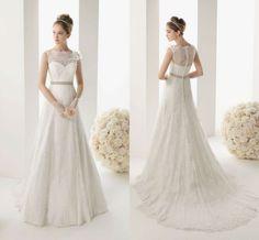 Elegant Lace A-line wedding dress Bridal Gown custom Size 2-4-6-8-10-12-14-16+