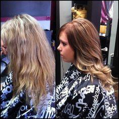 Blonde to brown #ombre #lightbrownhair #highlights #redken #brondehair