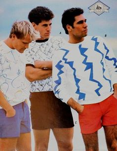 1987 guys colored twill shorts T-shirts at VintageDancer Hot Weather Outfits, Summer Outfits Men, Summer Clothes, 80s Style Outfits, 80s Outfit, 1987 Fashion, Retro Fashion Mens, Mens Clothing Styles, Forest Camp