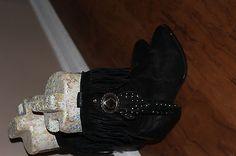 Vintage  Black Leather Fringe Boots Sz 8 M ladies HOT