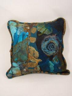 The Blue Morpho Felted Living Room - jean gauger - Picasa Web Albums Felt Cushion, Felt Pillow, Nuno Felting, Needle Felting, Fabric Painting, Fabric Art, Blue Morpho, Felt Leaves, Textile Fiber Art