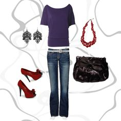 Cute and stylin with the red peep toe shoes!
