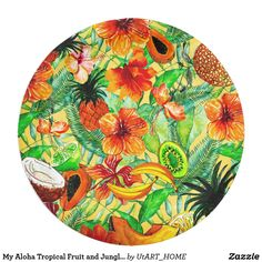 My Aloha Tropical Fruit and Jungle Flower Garden Paper Plate