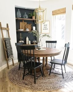 Stunning Latest Farmhouse Dining Room Design Ideas For A Beautiful Dinner To Have Dining Room Design, Dining Room Table, Dining Room Shelves, Round Wood Dining Table, Farmhouse Kitchen Tables, Rustic Farmhouse, Round Kitchen, Eat In Kitchen, Dinner Room