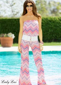 Rock The Boat Chevron Romper by Lady Lux®