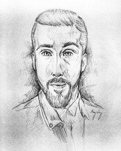 Sketch of @avi_kaplan  Yay ヾ(*´∀`*)ノ #avikaplan #pentatonix #ptx #ptxofficial #portrait #sketch #beard #art #drawing