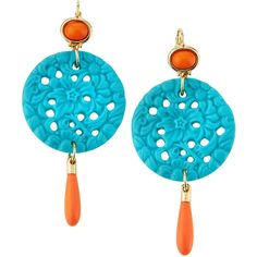 Kenneth Jay Lane Golden Turquoise & Coral-Hue Triple-Drop Earrings ($26) ❤ liked on Polyvore featuring jewelry, earrings, turquoise, turquoise jewelry, round earrings, coral jewelry, polish jewelry и turquoise drop earrings