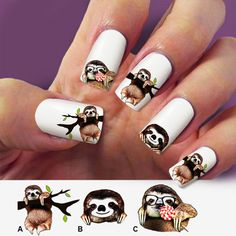 60 nail decals, Animal nail decal, sloth nail decal,nail art,nail stickers, Nail Art, Water Slide nail Decals ,#SLT001 by Marziaforever on Etsy https://www.etsy.com/listing/222483534/60-nail-decals-animal-nail-decal-sloth