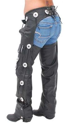 Western chaps with conchos made of soft buffalo leather. Features of this cowgirl or cowboy chaps are a zipper wind flap, rawhide lacing, a cell phone pocket, pen pocket and braided leather trim. Leather Skin, Biker Leather, Leather Pants, Lady Biker, Biker Girl, Braided Leather, Leather And Lace, Cowgirl Chaps, Harley Davidson Womens Clothing