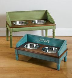 Pets Care - I like the idea of having a backsplash to the dog feeding station - catches stray kibbles and drool splatter lol The way cats and dogs eat is related to their animal behavior and their different domestication process. Dog Feeding Station, Feeding Puppy, Dog Bowl Stand, Dog Food Bowls, Diy Dog Bed, Dog Furniture, Furniture Design, Animal Projects, Pet Beds