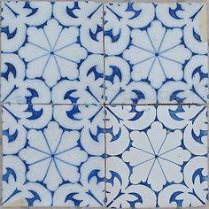 Vintage 4 telhas Portuguesa-Telha Set-Português Azulejo Sec Xix-Azulejos Vintage