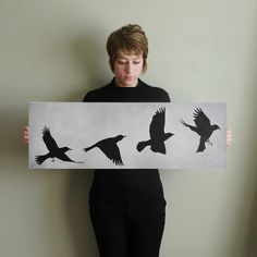 Bird Silhouette Flight Sequence Painting