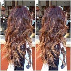 Long Brown Hair with Cinnamon Balayage, Layers, and Big Waves