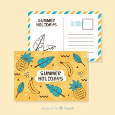 Download Hand Drawn Summer Holiday Postcard for free