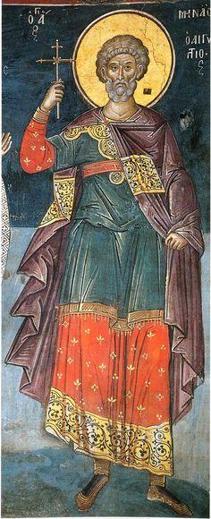 Άγιος Μηνάς / Saint Menas Byzantine Icons, Byzantine Art, Religious Icons, Religious Art, Religious Paintings, Orthodox Icons, Blessed Mother, Christian Art, Saints