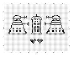 Free dr who pattern for you Dalek Tardis Cross Stich Patterns Free, Cross Stitch Designs, Free Pattern, Crochet Patterns, Loom Patterns, Beading Patterns, Dr Who, Tardis, Cross Stitching