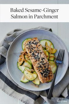 Baked Sesame-Ginger Salmon in Parchment via @PureWow