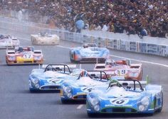 Start of the 1972 Le Mans 24 Hour Race ~ 3 Matra 670's out in front driven by Henri Pescarolo, François Cevert and J.P. Beltoise.