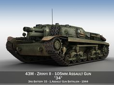 Zrinyi II - Hungarian Assault Gun - Bat 37 Model in Tank Tank Destroyer, Defence Force, 3d Models, Military Equipment, Panzer, Body Painting, Military Vehicles, Wwii, Guns