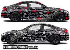 Urban camouflage vehicle wrap graphics shown on a black BMW Car Stickers, Car Decals, Van Wrap, Bmw M4, Camouflage, Wraps, Racing, Graphics, Urban