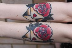 Sister tattoos - rose and envelope. i want to get tattoos with my sisters...