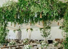 Hanging greenery makes for beautiful wedding reception ceiling decorations. Opt for suspended wreathes, garlands, or greenery chandeliers for your wedding Barn Wedding Centerpieces, Garland Wedding, Tree Wedding, Wedding Flowers, Wedding Ideas, Wedding Reception, Wedding Greenery, Wedding Planning, Wedding Stuff