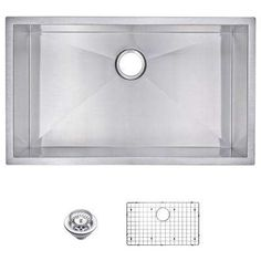 Undermount Zero Radius Stainless Steel 32x19x10 0-Hole Single Bowl Kitchen Sink with Strainer and Grid in Satin Finish