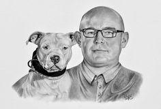 Portrét pánečka a psa - kresba