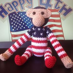 Happy of July to all our American friends Crochet Monkey, Knit Crochet, Happy 4 Of July, 4th Of July, Danish Design, Dinosaur Stuffed Animal, Knitting, Toys, Animals